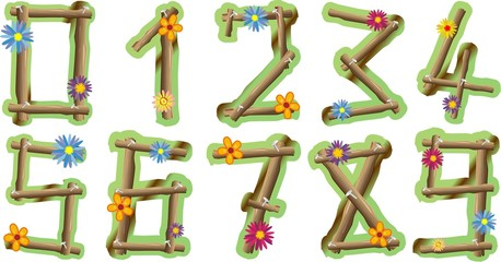 Numeri Fiori e Legno-Wood and Flowers Numbers-Vector