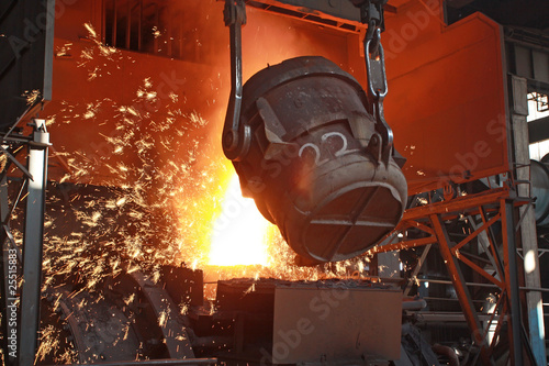 red-hot molten steel