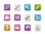 Woodworking industry and Woodworking tools icons poster