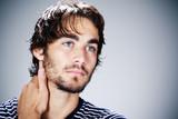 homme brun portrait beauté mode