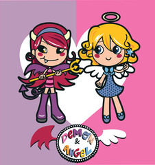 Angel and demon girl costumes with a big heart