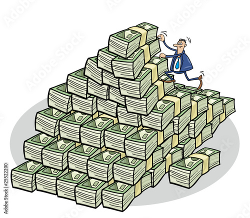 businessman climbing on mountain of money