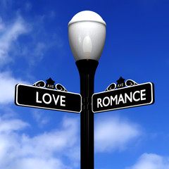 Antique street sign love and romance