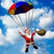 Weihnachtsmann am Fallschirm