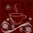 vector illustration of a cup of coffee with flower ornaments