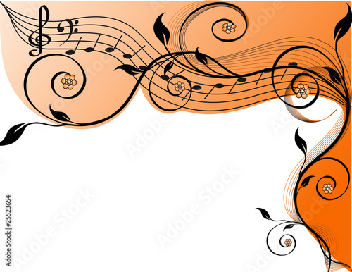 vector. Music background with notes and flowers.