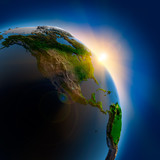 Fototapety Sunrise over the Earth in outer space
