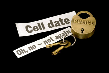 Police lock & keys with cell date for jail