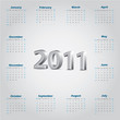 Simple 2011 calendar with metallic 3d text