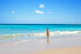 The harmonous girl leaves ocean poster