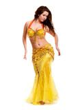 oriental Bellydancer in golden costume