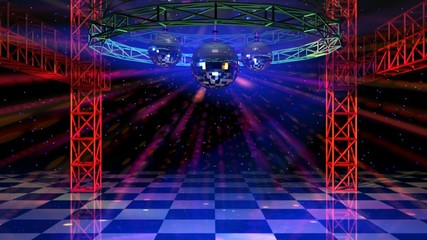 Dance floor with mirror balls and red lattice framework