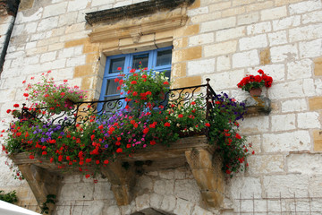 Ffench window ledge with flowers