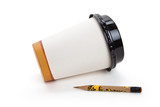 Disposable Coffee Cup and pencil