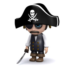 3d Unhappy pirate
