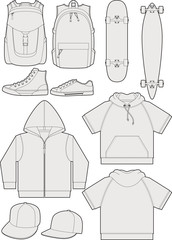 Streetwear accessories outline templates