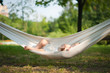 Baby sleep quiet into hammock