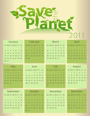 Calendar for 2011 - Save the Planet - everything grouped