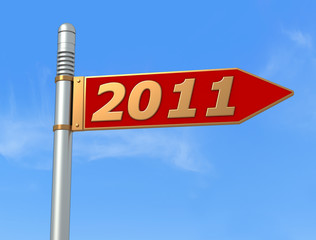 new year directional sign