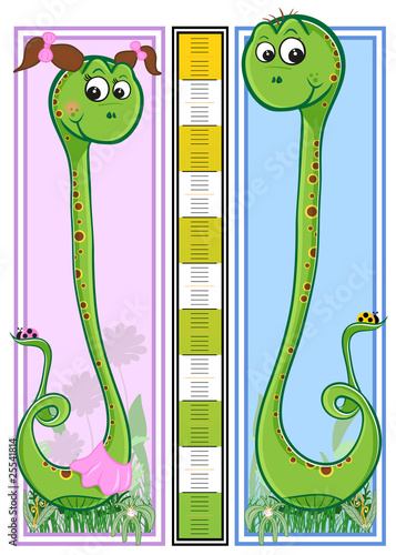 Aluminium Hoogte schaal Snake children height meter - every object grouped for easy use
