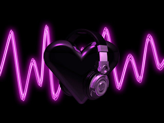 headphones on heart