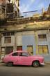 Old havana facade and vintage car