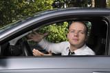 agressive man in car