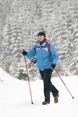 Nordic walking in snow