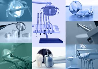 Dental background. Set of dental images blue tinted