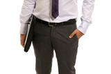 Unrecognizable businessman with suitcase close-up isolated poster