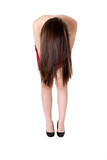 Unrecognizable young girl showing her long brunette hair poster