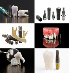 Dental background. Set of dental images