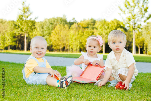 Toddlers on grass