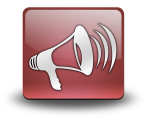 "Red 3D Effect Icon ""Megaphone / Announcement Symbol"""