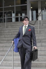 Businessman leaving work