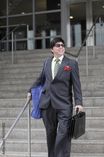 Businessman leaving work