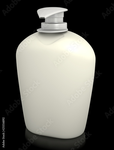 Bottle of liquid soap against a black background