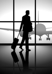 Sotck illustration of a businessman carrying a luggage