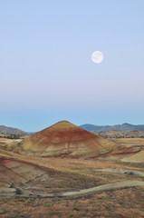 Painted Hills at moonset