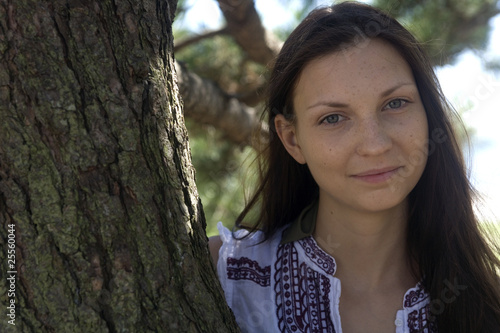 Brunette Beauty with tree