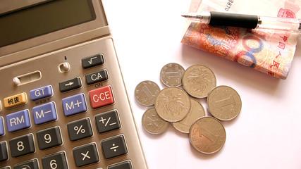 chinese money and calculator