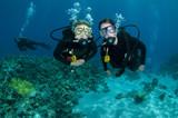 scuba divers on a dive poster