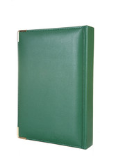 Green leather notebook on a white background