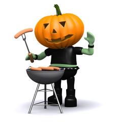 Pumpkin man has a barbecue