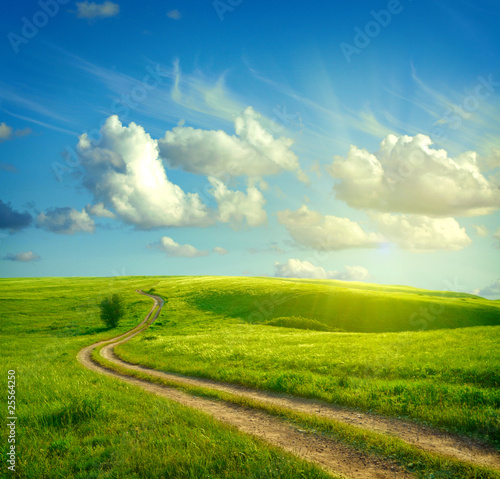 Fotobehang Heuvel Summer landscape with green grass, road and clouds