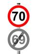 Jahreszahlen Schild 70 - 69