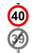 Jahreszahlen Schild 40 - 39