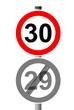 Jahreszahlen Schild 30 - 29