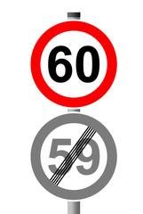 Jahreszahlen Schild 60 - 59