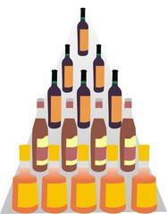 Бутылки на полках